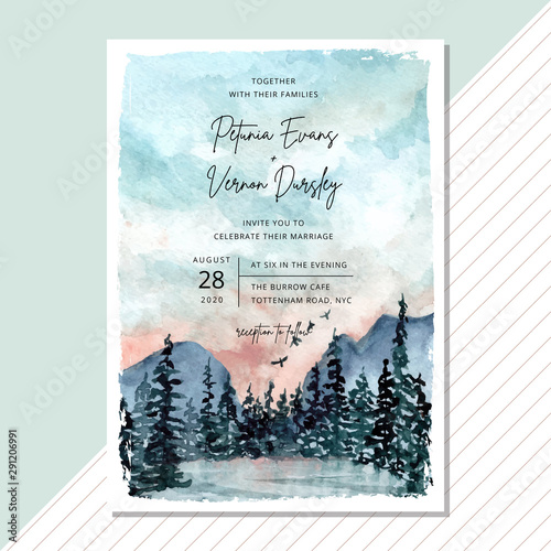 Wedding Invitation Card With Landscape Watercolor Background Stock Vector Adobe Stock