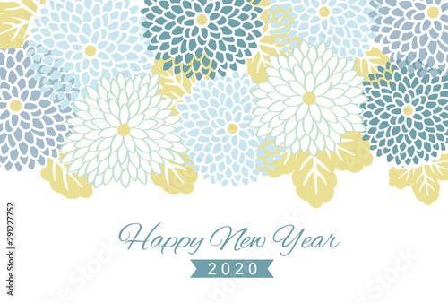 Carta da parati 2020 New year card design template with geometric flower pattern