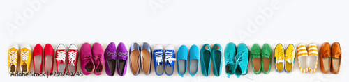 Photo A lot of colored youth women's shoes without heels