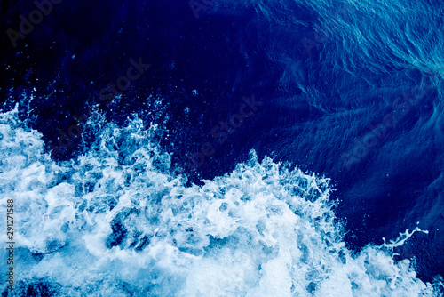 Bird's eye view on the open waters of planet earth, stormy seas, blue turquoise Fototapete