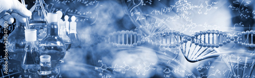 Fotografia abstract image of dna chain on blurred background
