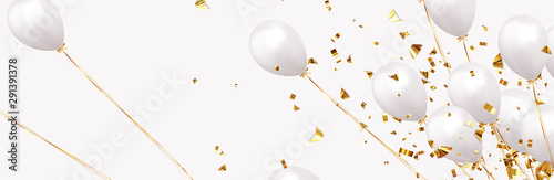 Wall mural Background with festive realistic balloons with ribbon. Celebration design with baloon, color white, studded with gold sparkles and golden glitter confetti. Celebrate birthday template