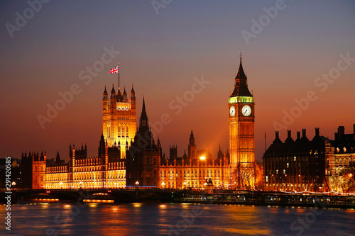 Night view of Westminster Palace over dramatic sunset sky #291420585