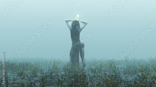 Vászonkép Witch Demon Woman with White Eyes and Glowing Orb in Futuristic Haute Couture Dr