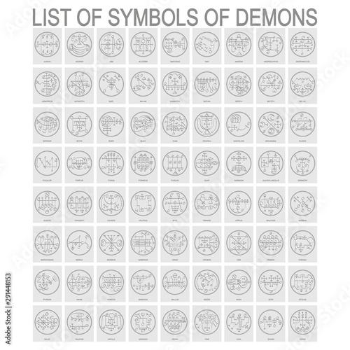 Canvas Print Vector set with symbols of demons. Sigils of Demons