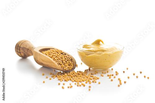 Fotografie, Obraz Yellow mustard and mustard seeds.