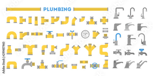 Fototapeta Plumber set, collection of pipe and tap. Plumbing industry.