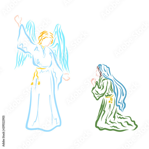 Fototapeta Annunciation, Angel proclaims to the Virgin Mary that she will give birth to the