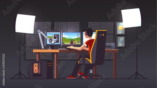 Fotografia Cyber sport pro gamer live streaming game match