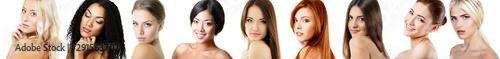 Zestaw pięknych kobiecych portretów studyjnych. Różne twarze kobiet. Niesamowite kobiety rasy białej, azjatyckiej, afrykańskiej i latynoskiej. Piękno. Różnica. Dziewczyny o różnej skórze, włosach i oczach.