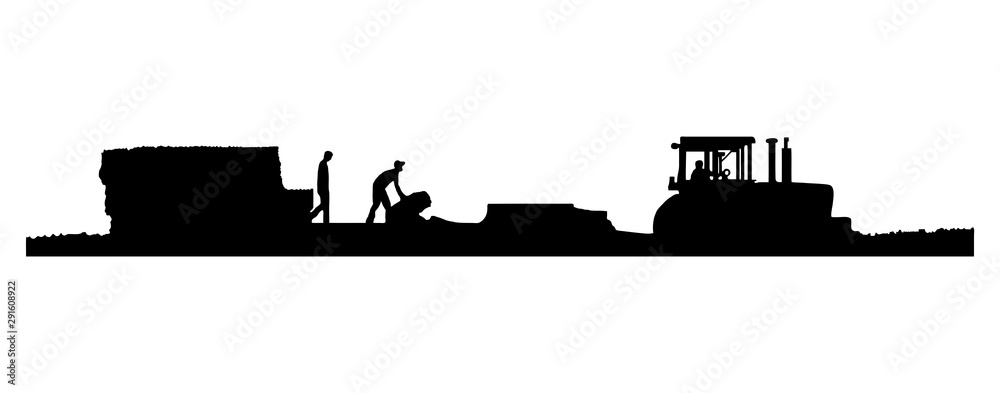 EPS8 Vector. Black and white Silhouettes of a tractor pulling a baler and wagon in a field of straw or hay with two men working on the wagon. One with a drop shadow and one without. <span>plik: #291608922   autor: Linda J Photography</span>