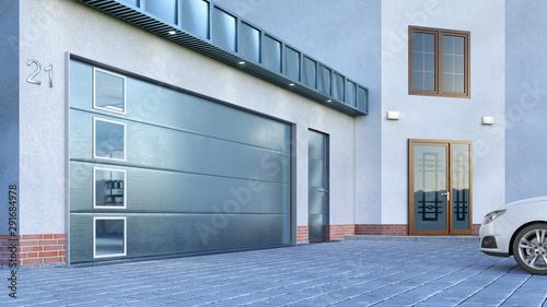 Fotografía Garage entrance with sectional doors. 3d illustration
