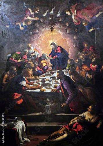 Murais de parede Altarpiece depicting the Last Supper by Tintoretto in Cathedral of St