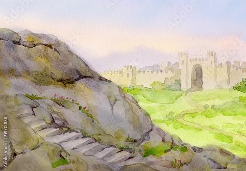 Carta da parati Watercolor landscape. Field at the old fortress