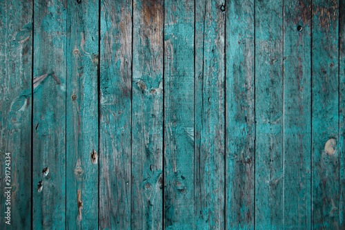Fototapeta Old teal colored wooden wall