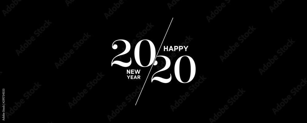2020 logo szczęśliwego nowego roku tło. Szablon projektu broszury, plakat, karta, baner. Ilustracja wektorowa <span>plik: #291734333 | autor: hunthomas</span>