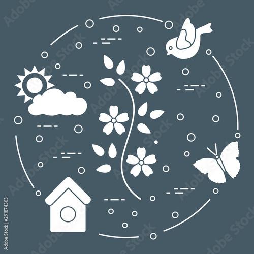 Sun, cloud, bird, flower, butterfly, birdhouse. Fototapeta