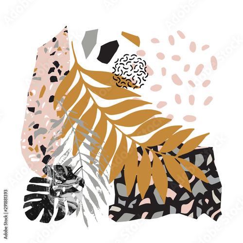 Fototapeta Modern vector illustration with tropical leaves, grunge, marbling, terrazzo flooring textures, doodles, minimal elements