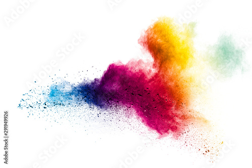 Tablou Canvas Colorful powder explosion on white background