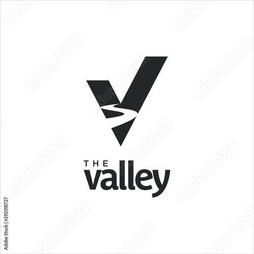 Fototapeta River logo valley vector or creek in simple V monogram style design idea