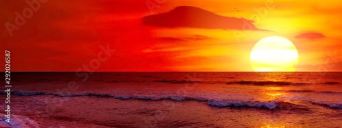 Fantastic sunset over ocean