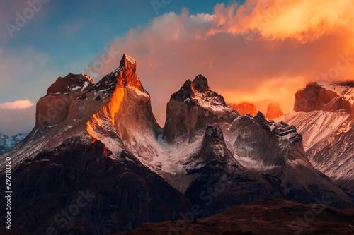 Fotografie, Tablou Dramatic dawn in Torres del Paine, Chile