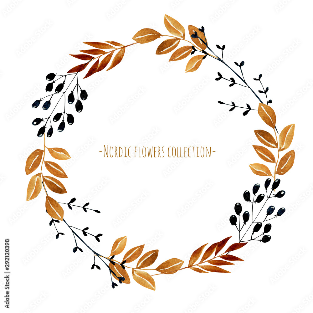 Wreath with watercolor autumn branches and berries, hand painted on a white background <span>plik: #292120398   autor: nastyasklyarova</span>