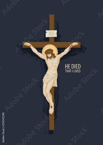 Leinwand Poster Vector banner with crucifix and the words He died that I lived