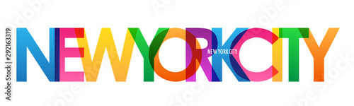 NEW YORK CITY kolorowy miasto nazwa typografia transparent
