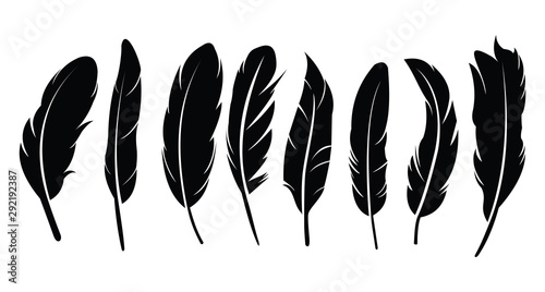 Canvastavla Pen feather icon simple style vector image