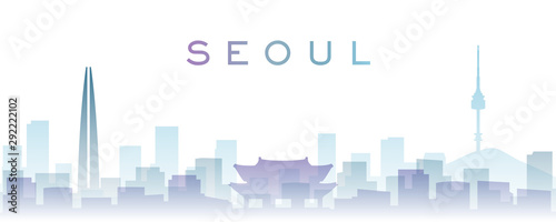 Photo Seoul Transparent Layers Gradient Landmarks Skyline
