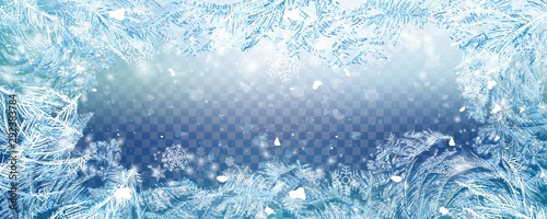 Christmas falling snow vector isolated on transparent background. Snowflake transparent decoration effect. Xmas snow flake pattern. Winter frozen glass background