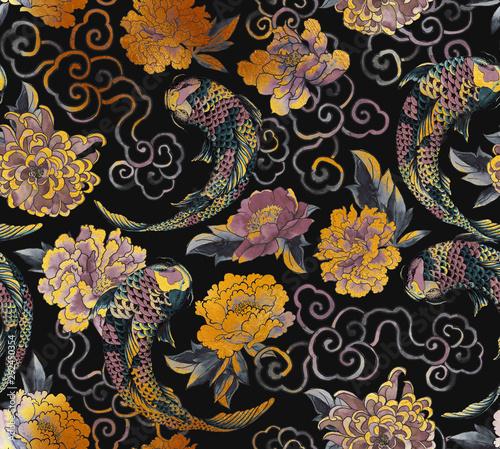 Fotografie, Obraz Beautiful trendy Japanese pattern in tattoo style