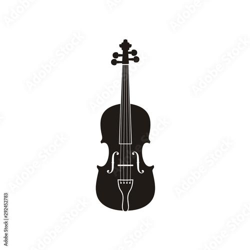 Canvas Print Silhouette of Violin Cello Fiddle Contrabass