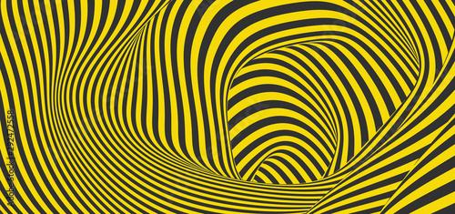 Fototapeta premium Wzór z złudzeniem optycznym. Czarno-żółty wzór. Streszczenie tło paski. Ilustracji wektorowych.