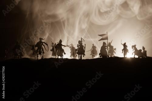Fotografija Medieval battle scene with cavalry and infantry