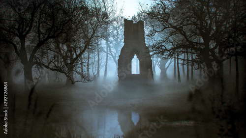 Obraz na płótnie Ghost haunting a ruins of a Cathedral in a misty forest near a lake - photomanip