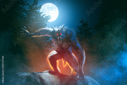 Photo Scary Werewolf in misty moonlight night in the forest - 3D rendering