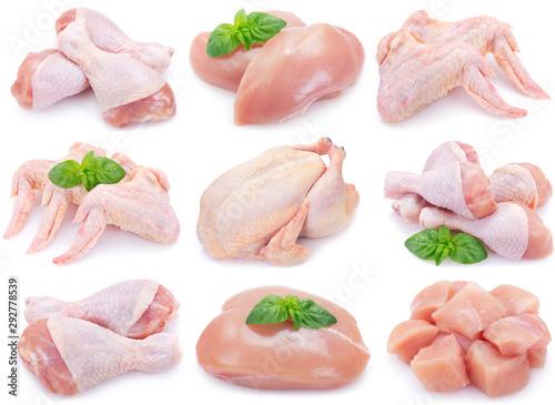 Foto Raw chicken on white background