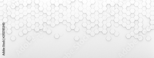 Fotografiet Bright white abstract hexagon wallpaper or background - 3d render