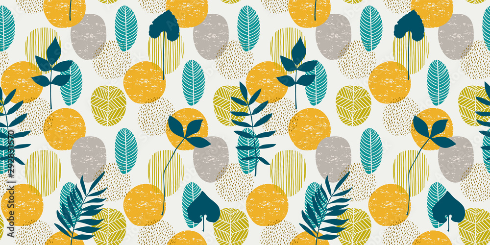 Abstract autumn seamless pattern with leaves. Vector background for various surface. <span>plik: #292831570 | autor: Nadezda Grapes</span>