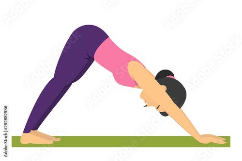 Fotografija Yoga pose downward facing dog. Exercise for body health