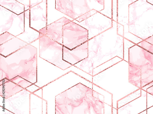 Wallpaper Mural Seamless geometric pattern with gold glitter lines and rose marble