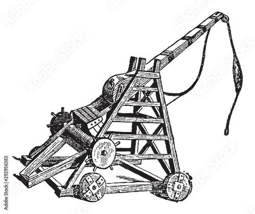 Fotografia Vintage engraving of a catapult