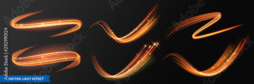 Light effect trails, golden glitter glow waves and sparkling flare tails. Abstract vector fire light with flash sparkles effect on transparent background