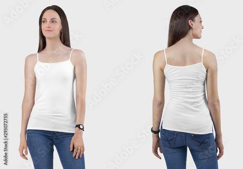 Fotografia Front back view of female model wearing white camisole plain shirt