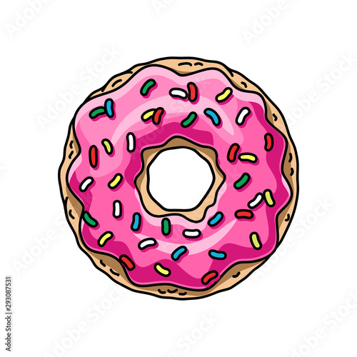 cartoon donut with pink glaze. vector illustration Fototapeta