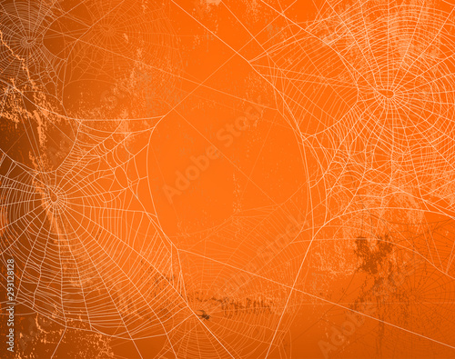 Stampa su Tela shabby orange wall covered with spooky spider web - halloween theme bright copy