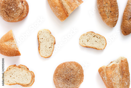 Cuadros en Lienzo Different types of bread Isolated on white