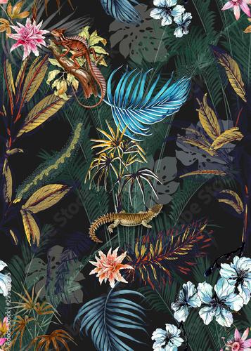 Fototapeta Seamless floral background scarf art abstract design textile